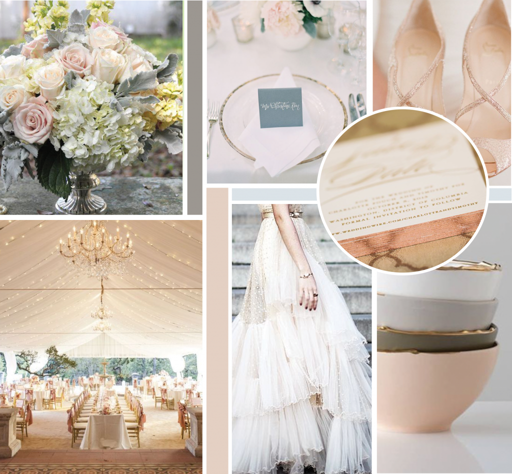 bourbon and blush events moodboard
