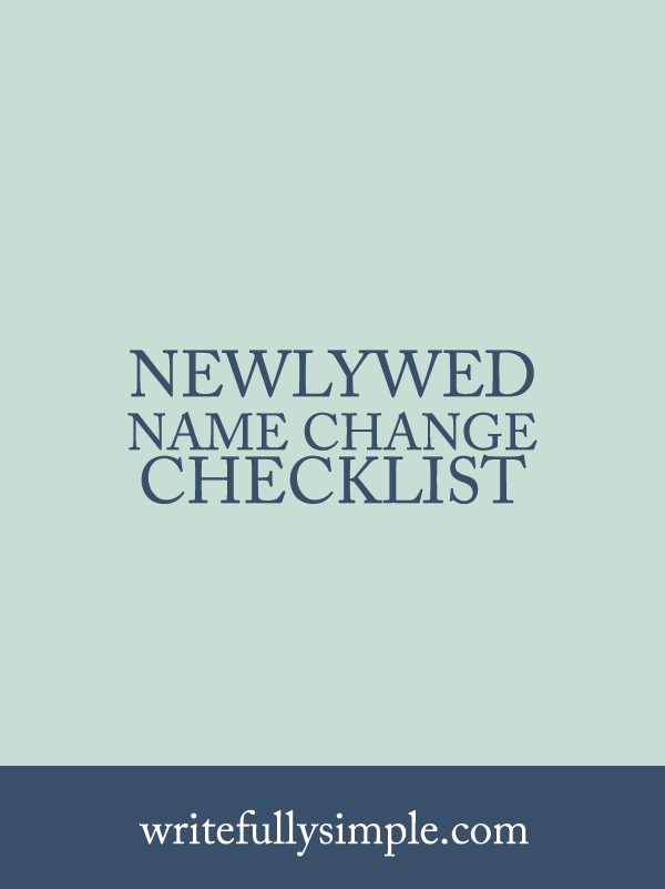 Newlywed Name Change Checklist