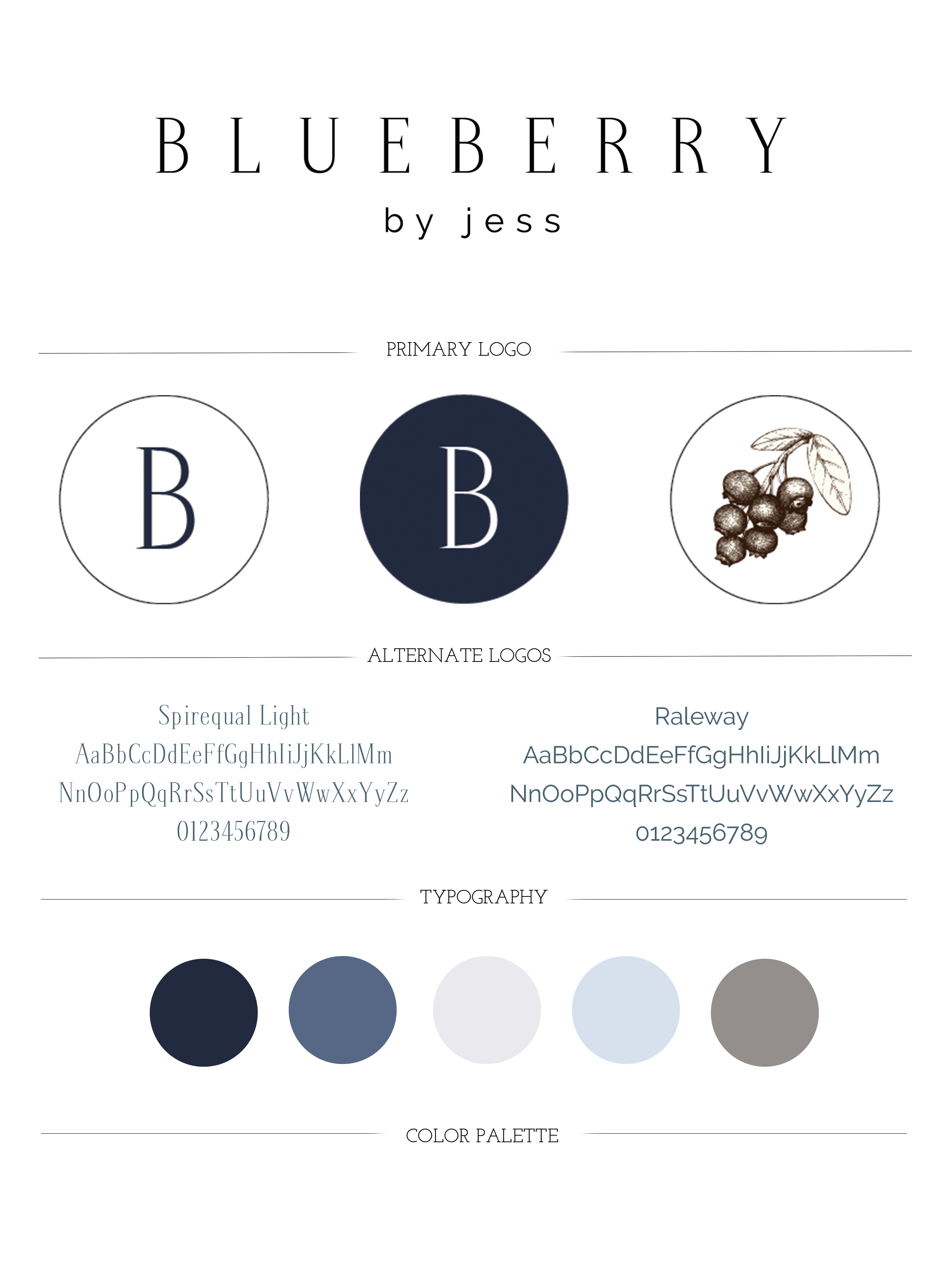 Blueberry by Jess Branding Guide | Designed by Writefully Simple | www.writefullysimple.com