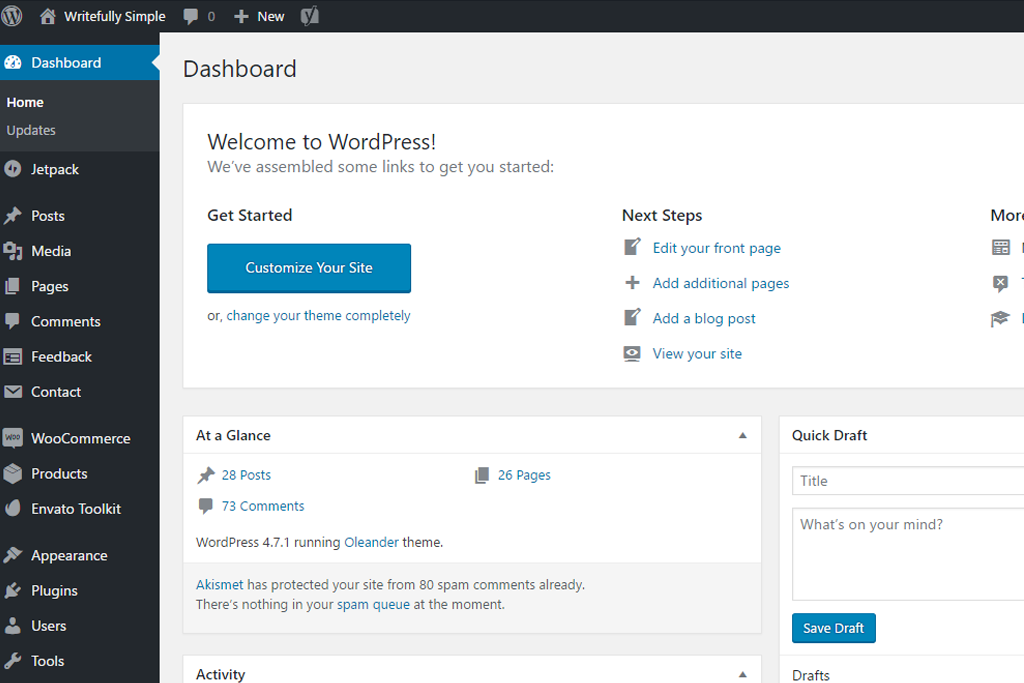 Writefully Simple | screenshot of WordPress dashboard