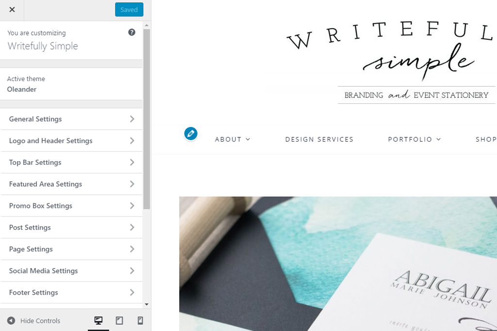 Writefully Simple | WordPress Customize Screenshot