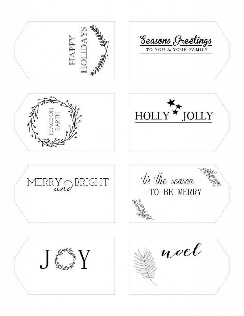 photograph relating to Printable Christmas Tags Black and White identify Printable Trip Present Tags Writefully Straightforward